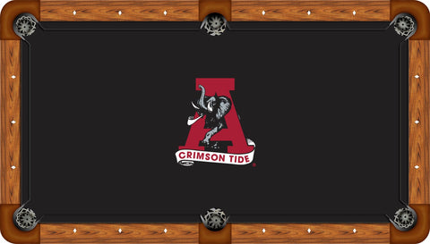 Alabama Crimson Tide Pool Table Felt Black with A Logo
