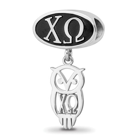 CHI OMEGA OVAL BEAD WITH OWL DANGLE