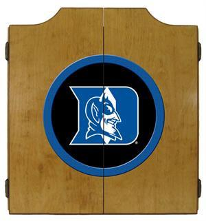 Duke Blue Devils Dartboard Cabinet in Oak Finish