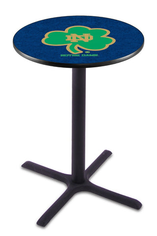 "Notre Dame  (Shamrock) Pub Table Black Cross Base 36"" High"