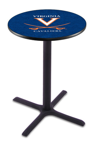 "Virginia Cavaliers Pub Table Black Cross Base 42"" High"