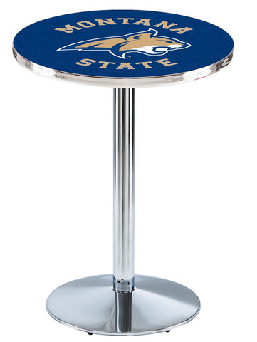 "Montana State Bobcats Pub Table Chrome Round Base 36"" High"