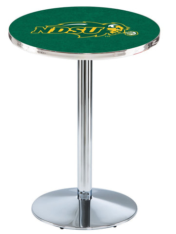 "North Dakota State Bison Pub Table Chrome Round Base 42"" High"