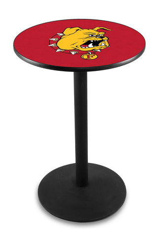 "Ferris State Bulldogs Pub Table Black Wrinkle Base 42"" High"