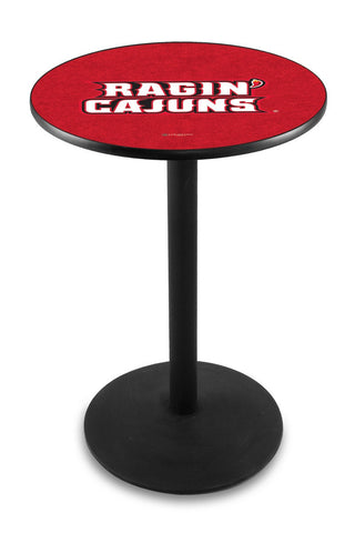 "Louisiana Lafayette Ragin' Cajuns Pub Table Black Wrinkle Base 42"" High"