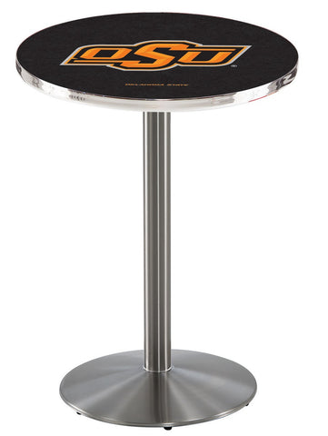 "Oklahoma State Cowboys Pub Table Stainless Base 42"" High"
