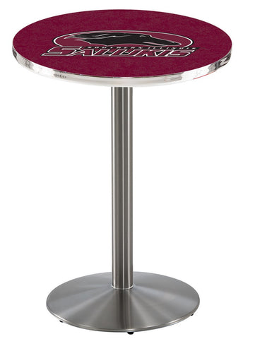 "Southern Illinois Salukis Pub Table Stainless Base 42"" High"