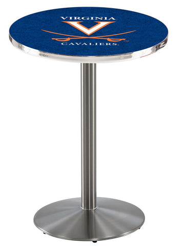 "Virginia Cavaliers Pub Table Stainless Base 36"" High"