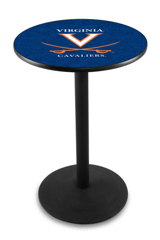 "Virginia Cavaliers Pub Table Black Wrinkle Base 42"" High"