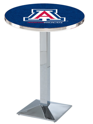 "Arizona Wildcats Pub Table Chrome Square Base 42"" High"