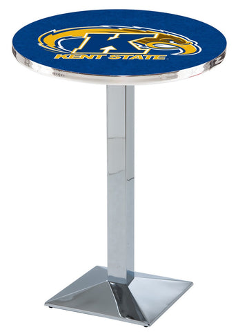 "Kent State Golden Flashes Pub Table Chrome Square Base 36"" High"
