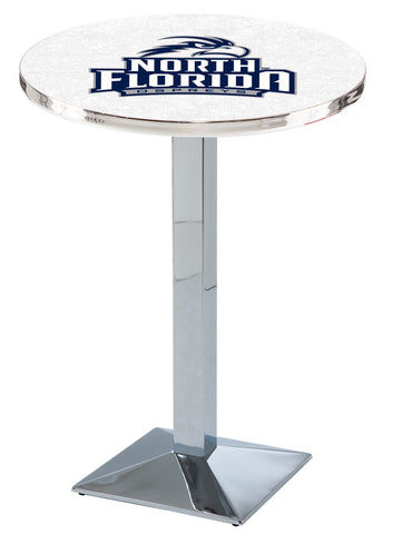 "North Florida Ospreys Pub Table Chrome Square Base 36"" High"
