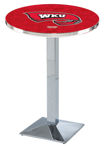 "Western Kentucky Hilltoppers Pub Table Chrome Square Base 36"" High"