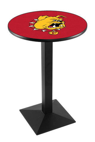 "Ferris State Bulldogs Pub Table Black Square Base 42"" High"