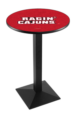 "Louisiana Lafayette Ragin' Cajuns Pub Table Black Square Base 36"" High"