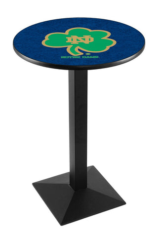 "Notre Dame  (Shamrock) Pub Table Black Square Base 36"" High"