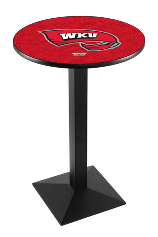 "Western Kentucky Hilltoppers Pub Table Black Square Base 36"" High"