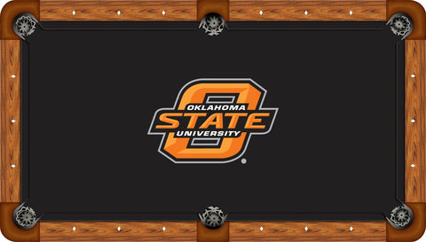 Oklahoma State Wool Pool Table Felt - State Logo on Black