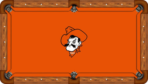 Oklahoma State Wool Pool Table Felt - Pete Head on Orange