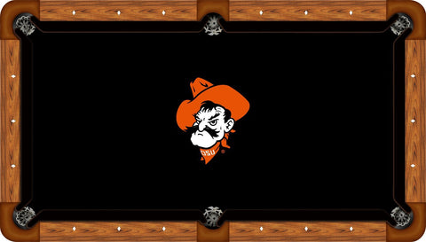 Oklahoma State Wool Pool Table Felt - Pete Head on Black