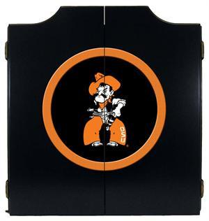 Oklahoma State Cowboys Dartboard Cabinet in Black Finish