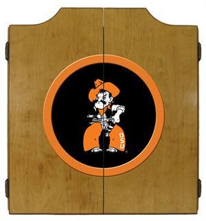 Oklahoma State Cowboys Dartboard Cabinet in Oak Finish