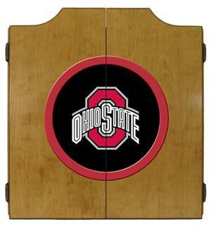 Ohio State Buckeyes Dartboard Cabinet in Oak Finish