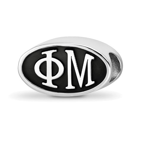 Phi Mu Oval Letters Bead Sterling Silver