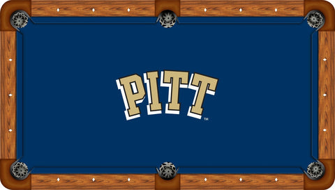 Pitt Panthers Wool Pool Table Felt - PITT Logo on Blue