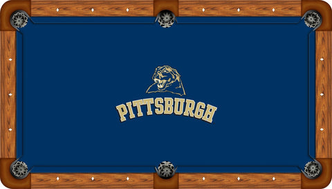 Pitt Panthers Wool Pool Table Felt - Panther Head on Blue