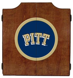 Pitt Panthers Dartboard Cabinet in Pecan Finish