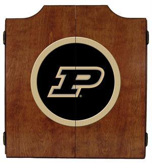 Purdue Boilermakers Dartboard Cabinet in Pecan Finish