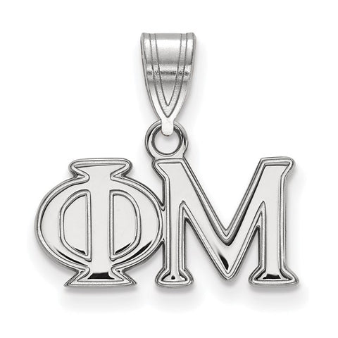 Phi Mu Medium Pendant Sterling Silver