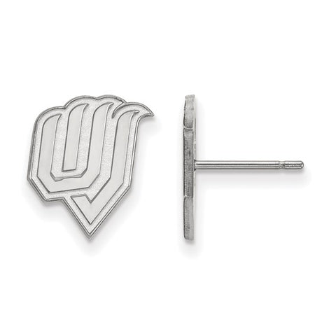 Utah Valley Wolverines Small Post Earring 10k White Gold