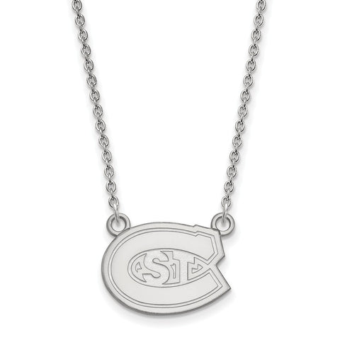 St. Cloud State Huskies Small Pendant Necklace 10k White Gold