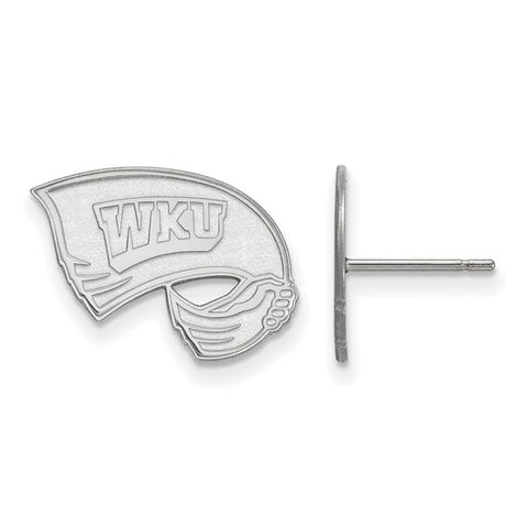 Western Kentucky Hilltoppers Small Post Earring 10k White Gold
