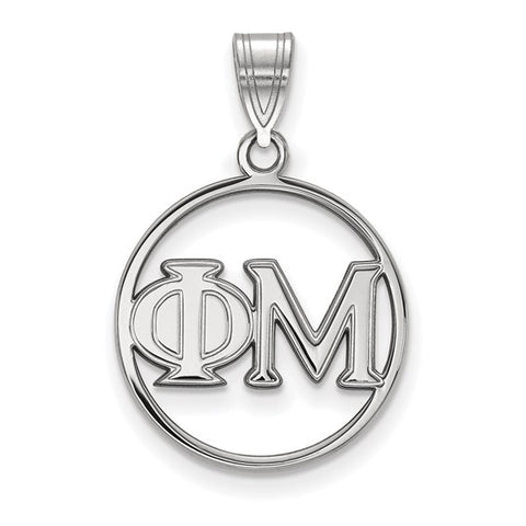 Phi Mu Small Circle Pendant Sterling Silver