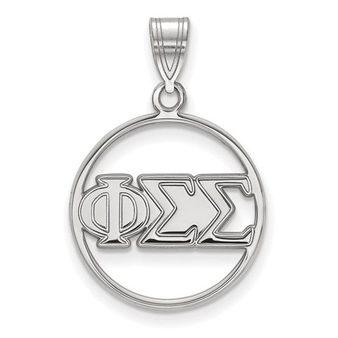 Phi Sigma Sigma Small Circle Pendant Sterling Silver