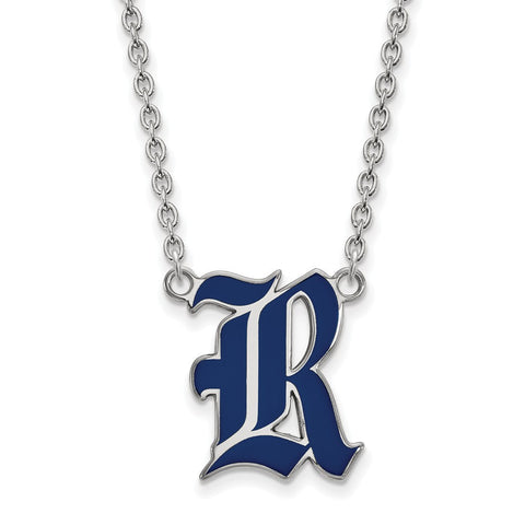 Rice Owls Large Enamel Pendant Necklace Sterling Silver