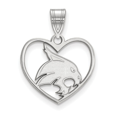 Texas State Bobcats Pendant in Heart Sterling Silver