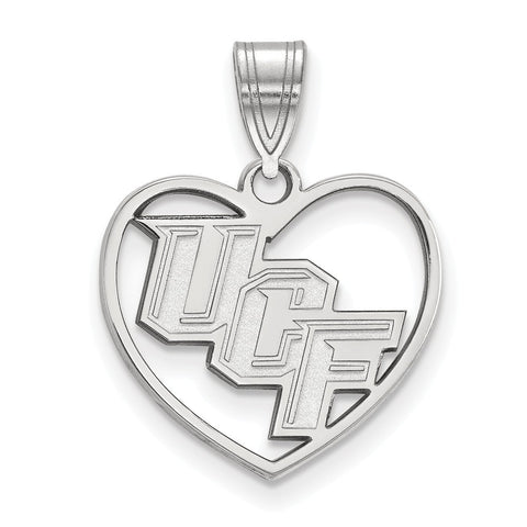 UCF Knights Pendant in Heart Sterling Silver
