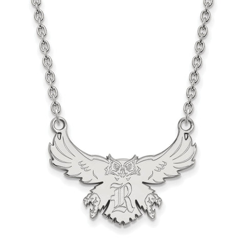 Rice Owls Large Pendant Necklace 10k White Gold