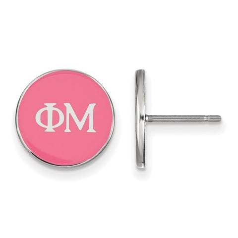 Phi Mu Enameled Post Earrings Sterling Silver
