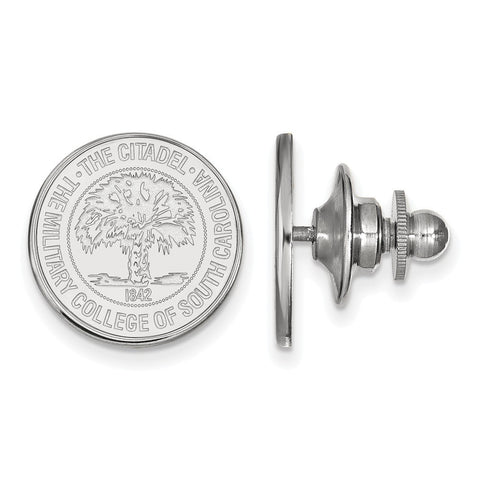 The Citadel Crest Lapel Pin 14k White Gold