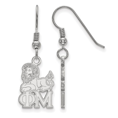 Phi Mu Medium Dangle Earrings Sterling Silver