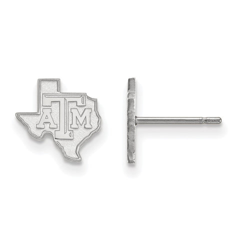 Texas A&M Aggies XS Post Earring 14k White Gold