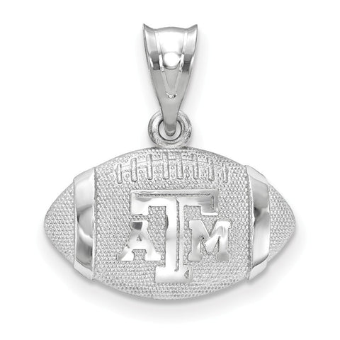 "Texas A&M Aggies ""aTm"" 3D Football with logo pendant Sterling Silver"