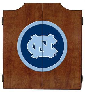 North Carolina Tar Heels Dartboard Cabinet in Pecan Finish
