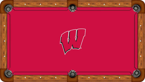 Wisconsin Badgers Wool Pool Table Felt - W Logo on Red