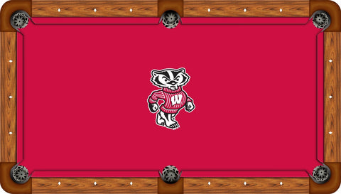 Wisconsin Badgers Wool Pool Table Felt - Badger Logo on Red